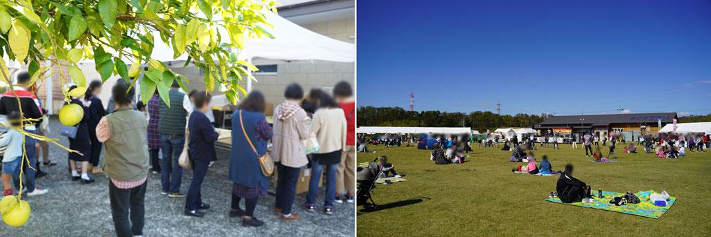 左はパン祭り、右は緑化フェスティバル
