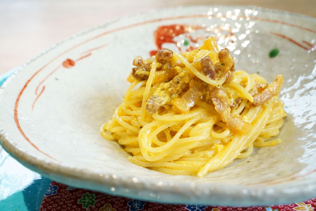 〆のパスタ 自家製ベーコンのspaghetti カルボナーラ・ローマ・スタイル