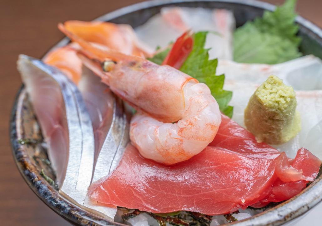 海鮮丼のアップの画像